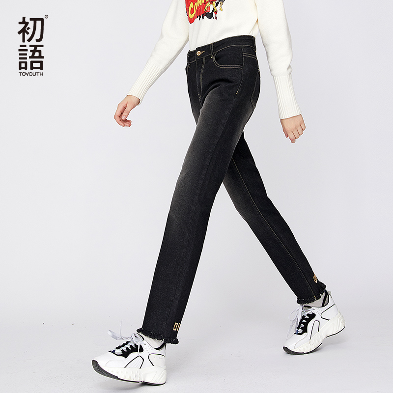Toyouth Letters Embroidery Jeans Womans Straight Jean Denim Mujer Pantalones Winter Black Trousers Boyfriend Casual Jeans 2019