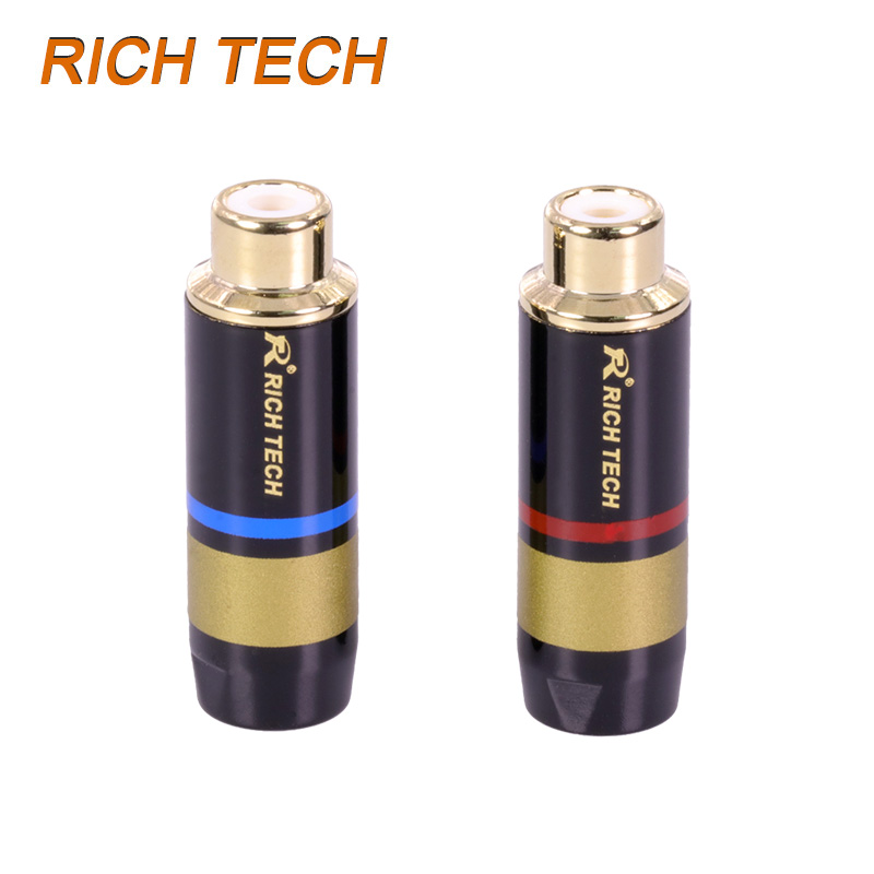 30pcs/15pair Luxury RCA Jack Copper RCA Female Connector Gold-plated audio adapter blue&red pigtail speaker plug 6.7MM Cable hol