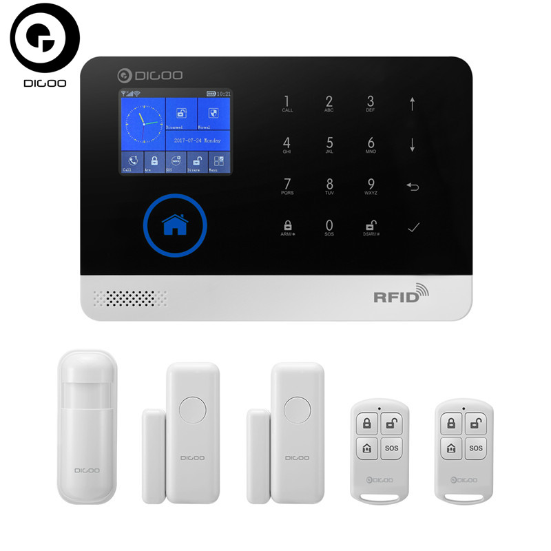 DIGOO DG-HOSA Wireless GSM&WIFI Smart Home Security Alarm Systems Kits Infrared Motion Sensor Door Alert with APP Control цена 2017