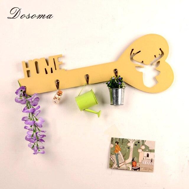 European Style Creative Big Key Wooden Hook Clothes Hat Keys Hooks ...