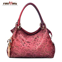 FIREBIRD!Top Brand women bag Hollow Out with ornaments delicate Handbag embossed PU leather bag Shoulder bag for women L222