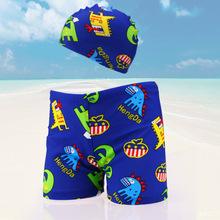 Chłopiec nowy strój kąpielowy chłopiec cartoon kąpielówki stroje kąpielowe garnitur chłopców kąpielówki strój kąpielowy stroje kąpielowe dla dzieci tanie tanio KAVKAS Poliester trunks Boys baby Pasuje prawda na wymiar weź swój normalny rozmiar 1-2 year old boy Hat + swim trunks