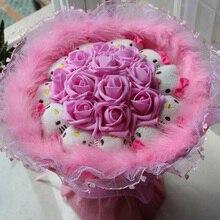 new 1pieces/lot pink 11 roses + 11 Cartoon cat Cartoon bouquet wedding Festive supplies