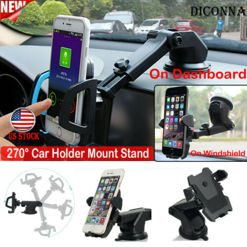 360° Universal Car Holder Stand Mount Holder Windshield Bracket For Mobile Universal Phone Adjustable Car Mount