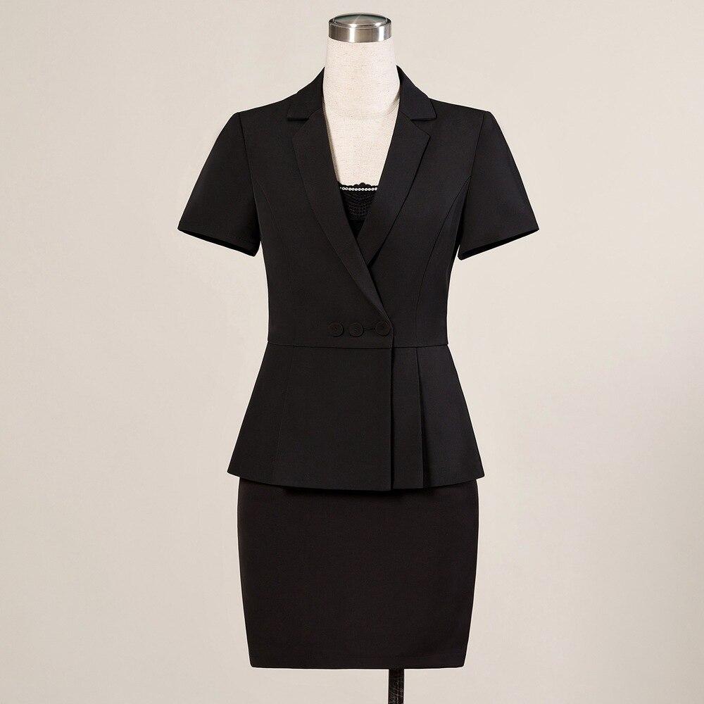 Summer Formal Skirt Suit Women Short Sleeve Ruffle Waist Blazer And Skirt 2 Pieces Set Office Clothes Work Suits 886833-