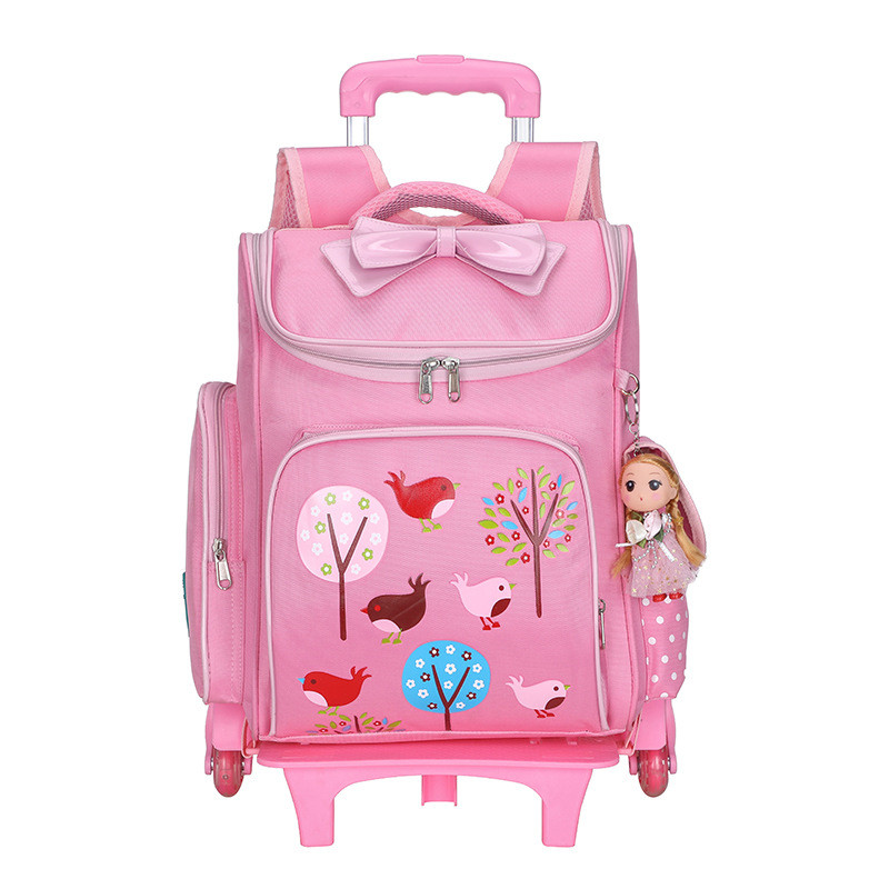 New Removable Children School Bags 2 6 Wheels for Girls Bow Trolley Backpack Kids Wheeled Bag