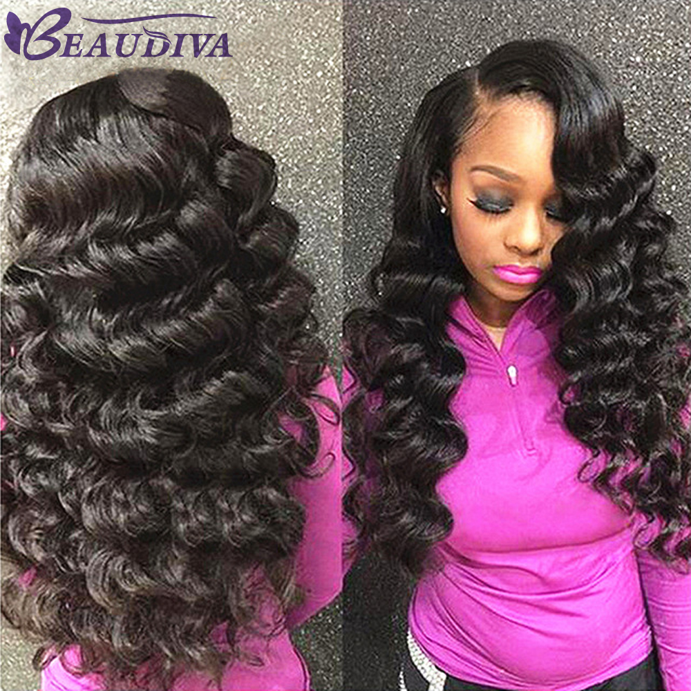 Beaudiva Hair Loose Wave 4 Bundles 100% Human Hair Extension Weave Natural Black Color 95-100g Each Bunlde Free Shipping