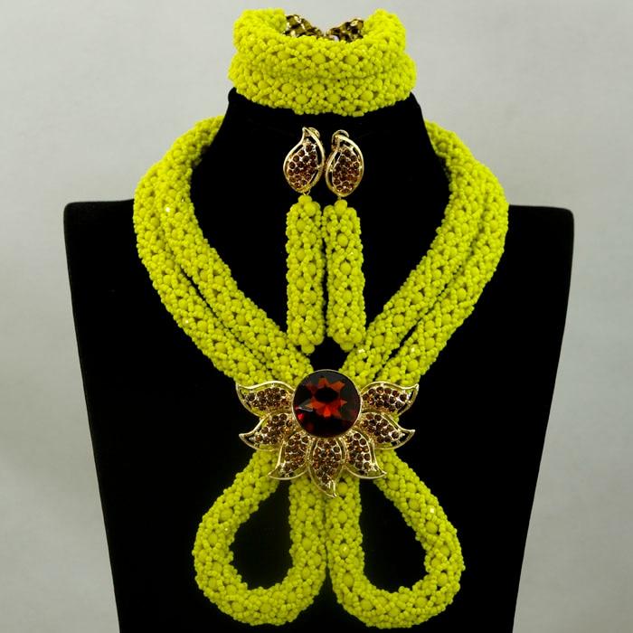 Handmade! Splendid Yellow Wedding Beads Nigerian Jewellery Set African Costume Party Engagement Jewelry Set Free Shipping HX868