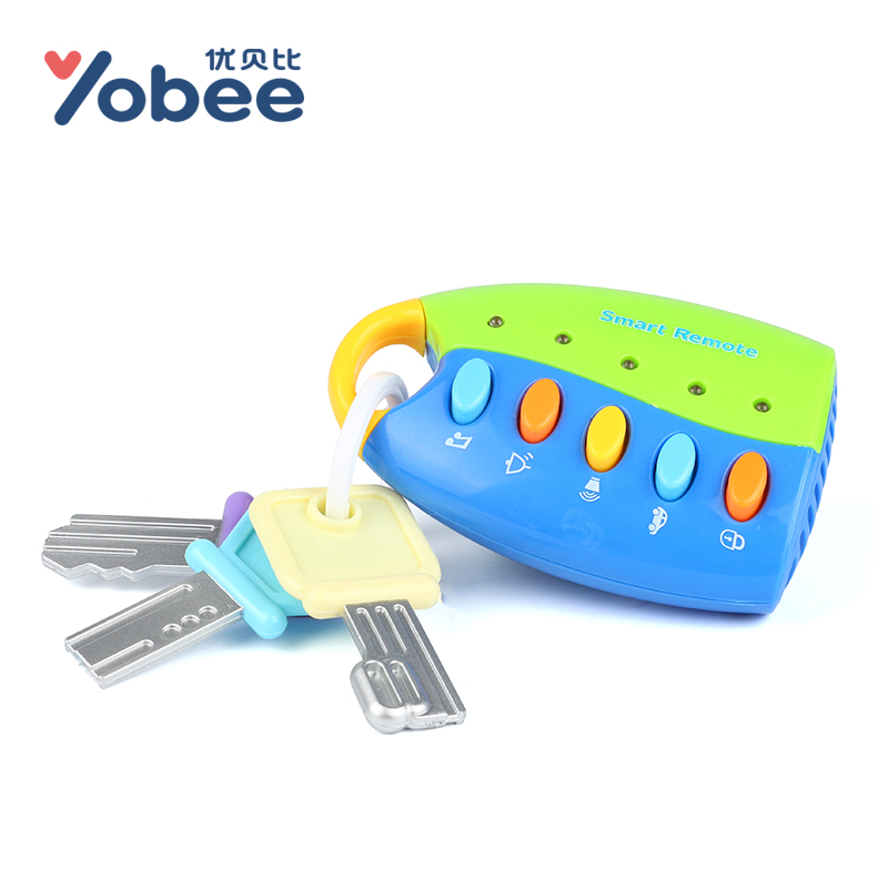 Yobee Puzzle Musical Car Key Toy Colorful Flash Music Smart Remote Several Car Voices Pretend Play Baby Toy