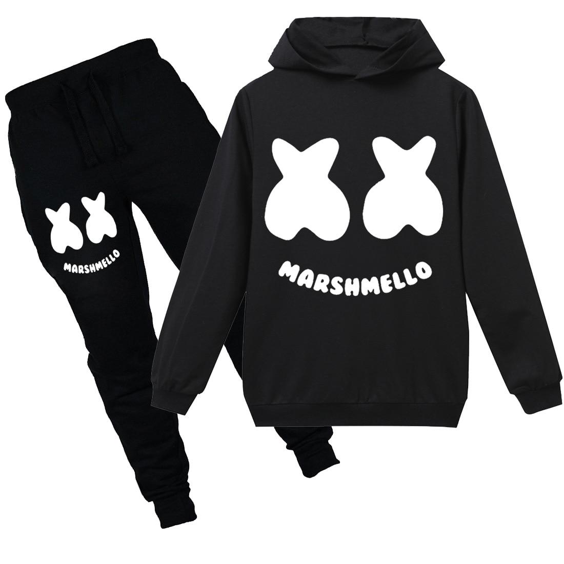 23ce9777a 2019 Children spring new long-sleeved hoodie pullover Marshmello boy  sweatshirt 2PCS DJ Music clothes