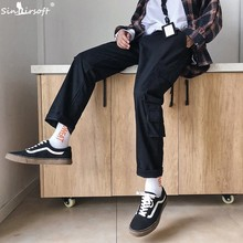 High Waist Cargo Pants Men Casual Ankle-Length Male Streetwear Loose Trousers Big Pockets Skateboard Clothes Summer New