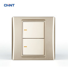 CHINT Switch Wall Plates 120 Type 86 9L Security Steel Frame Golden Two Gang Way