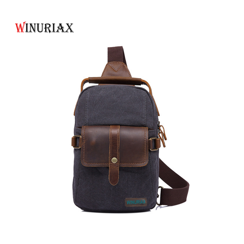 WINURIAX New Men Canvas shoulder bag Vintage chest bag for man Larger capacity Messenger bag matched crazy horse Cowhid leather 2017 summer high capacity chest bag for men
