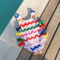 2 6T Girls' Swimwear Rainbow Stripes Swimsuit For Girl One Piece Swim Rompers With 8 Bowknots Cute Bather Girls UV Baby Swimwear
