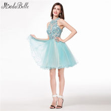 modabelle Lace Short Homecoming Dresses Tulle High Neck Semi Formal Dress  Modest Ruffles Puffy Appliques Beaded Prom Gowns 2017 fe877d117d95
