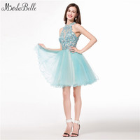 modabelle Lace Short Homecoming Dresses Tulle High Neck Semi Formal Dress Modest Ruffles Puffy Appliques Beaded Prom Gowns 2017
