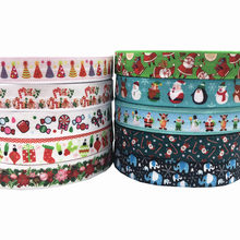New Arrival 5/8 Christmas Tree Snowflake Print Fold Over Elastic FOE Ribbon for Women Headwear 10Yards/lot