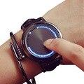 GSWP Marca creativa minimalista de cuero impermeable de la pantalla Táctil LED reloj de los hombres y mujeres amantes de los relojes inteligentes electrónica relojes