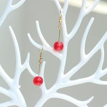 hot red glass bead earrings eardrop Sweet fruit cherry eardrop female fashion youth beautiful girl students earrings for women(China)