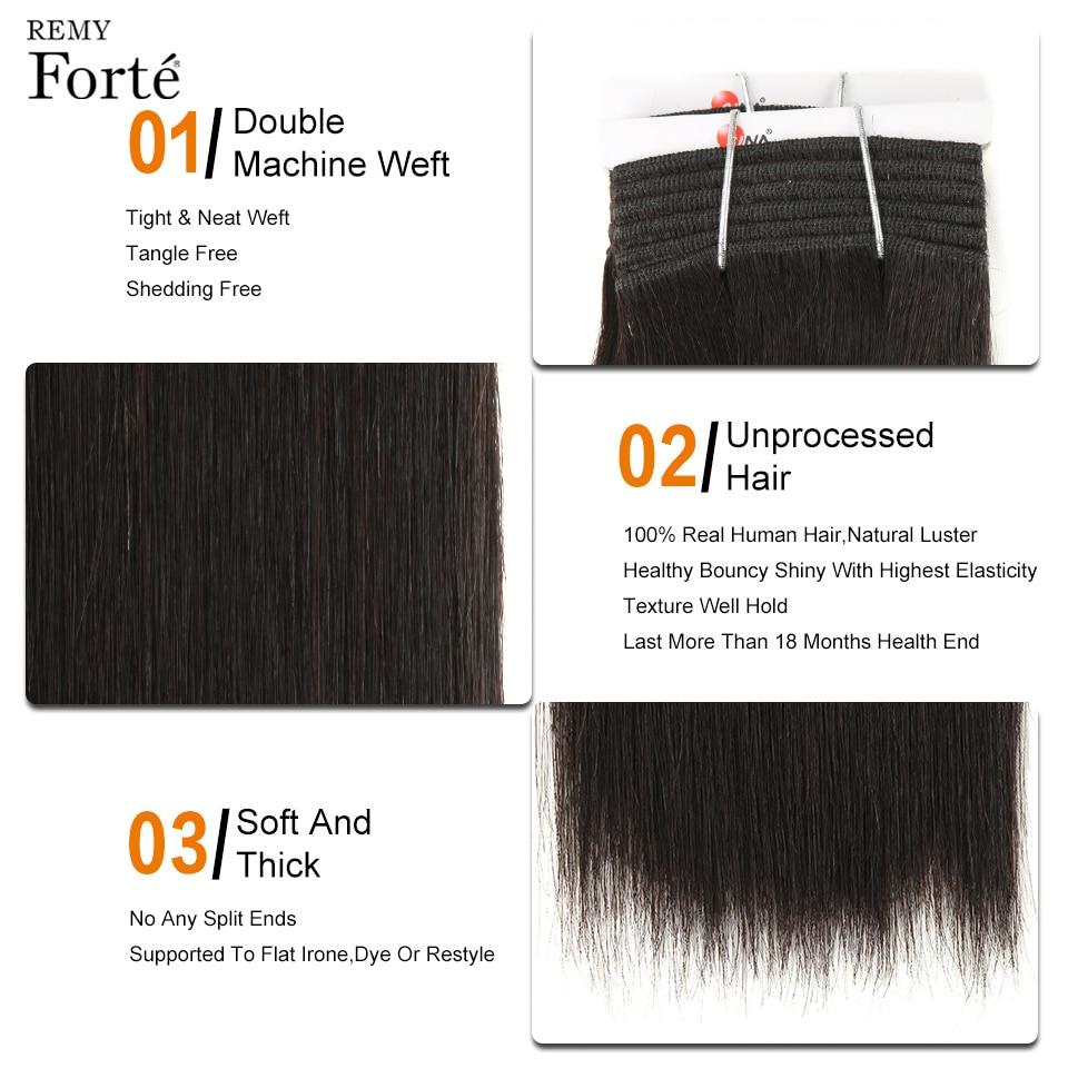 Remyforte Double Drawn Virgin Human Har Bundles 2/3 Bundles Brazilian Hair Weave Bundles#1/#4 Yaki Human Hair Bundles For Noble