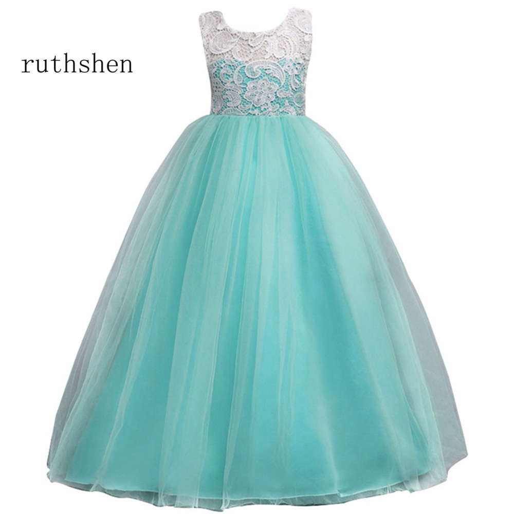 ruthshen 2018 Princess Sleeveless   Flower     Girl     Dresses   Ball Gown With Lace Button Zipper Back Fashion For Wedding Party