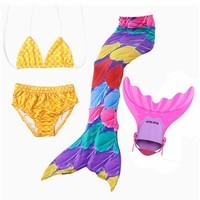 4 Pieces Girls Ariel Mermaid Tail For Swimming Costume children mermaid tails with Monofin Kid Zeemeerminstaart Cola De Sirens
