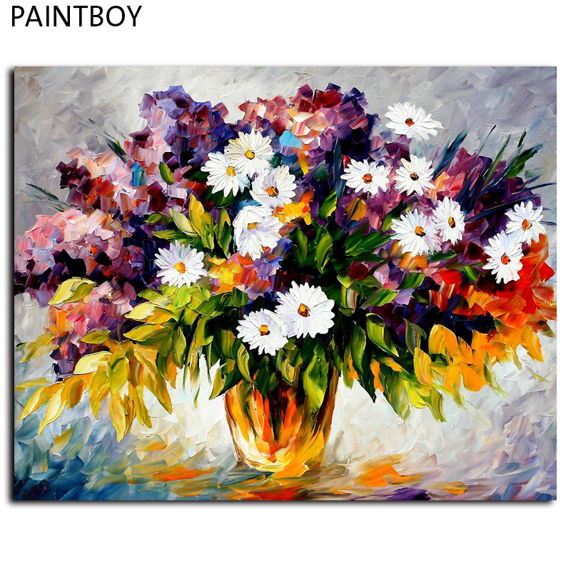 PAINTBOY Framed Pictures Painting By Numbers Rose Flower Handwork Canvas Oil Painting Home Decor For Living Room GX6749