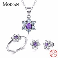 Modian Classic Real 100 925 Sterling Silver Ring Earring Fashion Crystal Clear Stud Earrings For Women