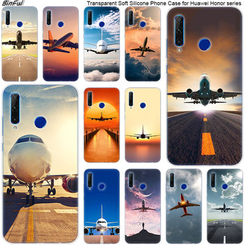 Hot Airplane Departure Soft Silicone Phone Case for Huawei Honor 20 20i 10 9 8 Lite 8X 8C 8A 8S 7S 7A Pro View 20 Fashion Cover image