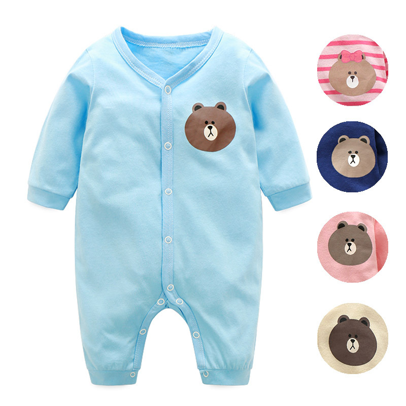Childrens Cartoon Bear Plush Siamese Sweater Baby Crawling Clothes Home Pajamas Winter Warm Rompers Hooded