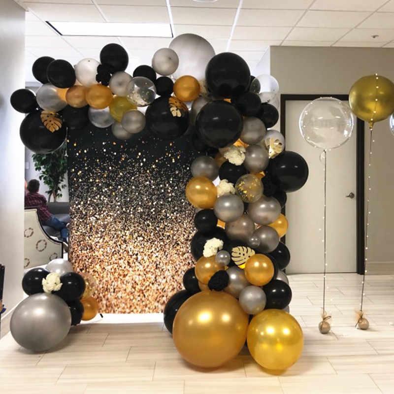110pcs Set Balloon Arch Garland Gold Silver Black Helium Latex