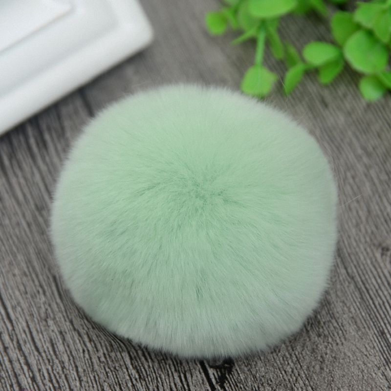 8cm Nature Genuine Rex Rabbit Fur Ball Pom Pom Fluffy DIY Winter Hat   Skullies     Beanies   Knitted Cap Pompoms DEF001-lightgreen