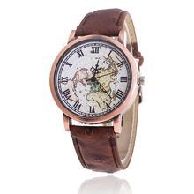 Style Classic World Map Watch Informal Leather-based Strap Ladies Quartz Watch Relogio Feminino Reward Drop Delivery 816