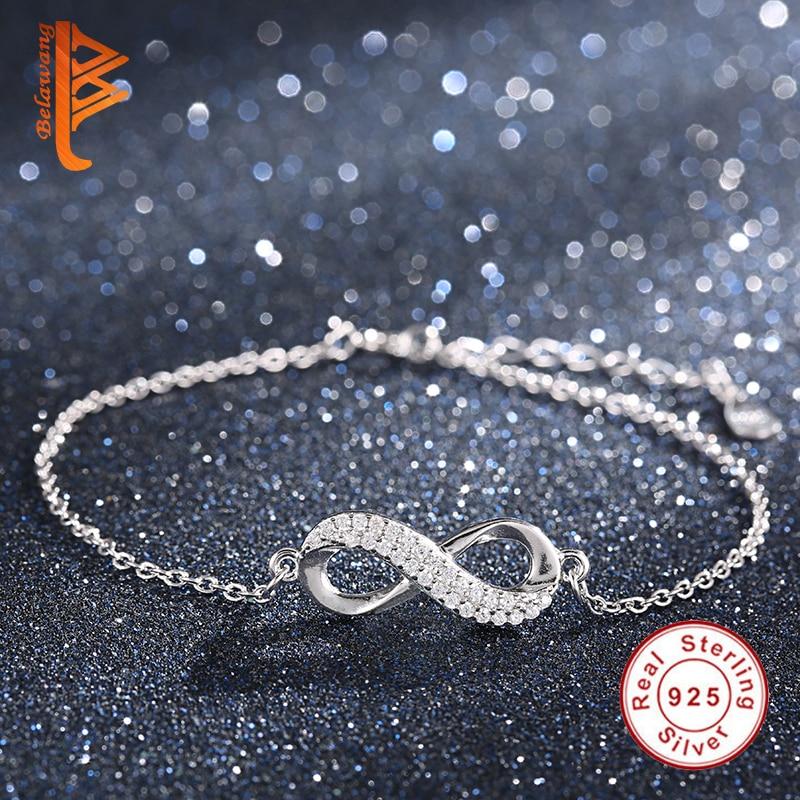 New Luxury Original 925 sterling silver jewelry Fashion Crystal Infinity Bracelets For Women Bracelet Bangles DIY