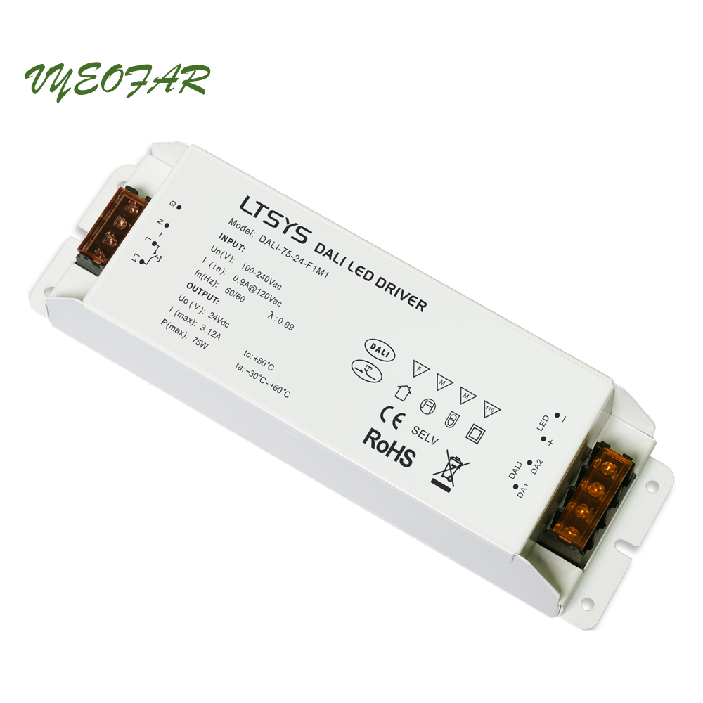 LTECH DALI-75-24-F1P1 DALI Led Dimming Driver,AC100-240V input;DC 24V 3.12A 75W output;DALI/Push button Dimmer new ltech td 75 24 e1m1 intelligent led driver 24vdc 3 1a 75w constant voltage triac dimmable led driver triac push dim