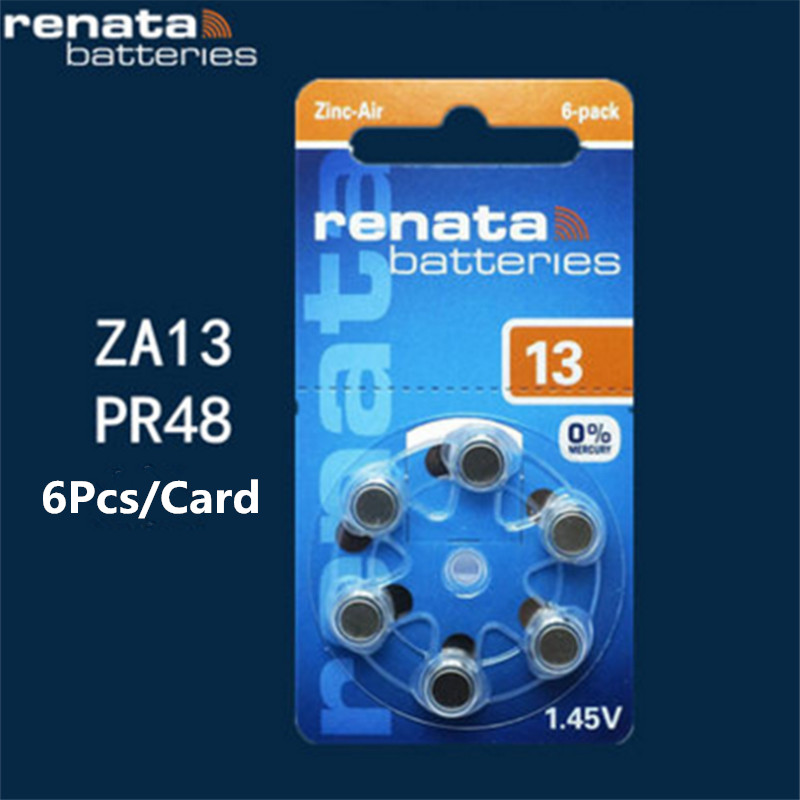 1packs (6batterys)XRenata Maratone Plus Size A13 13A ZA13 13 PR48 Zinc Air 1.45V Hearing aid battery стоимость