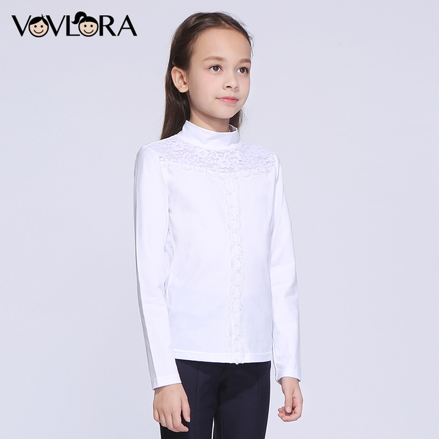 Girls T shirt White Lace Turtleneck Cotton Kids School T shirts Girl 2018 summer Children Clothing Size 9 10 11 12 13 14 Years