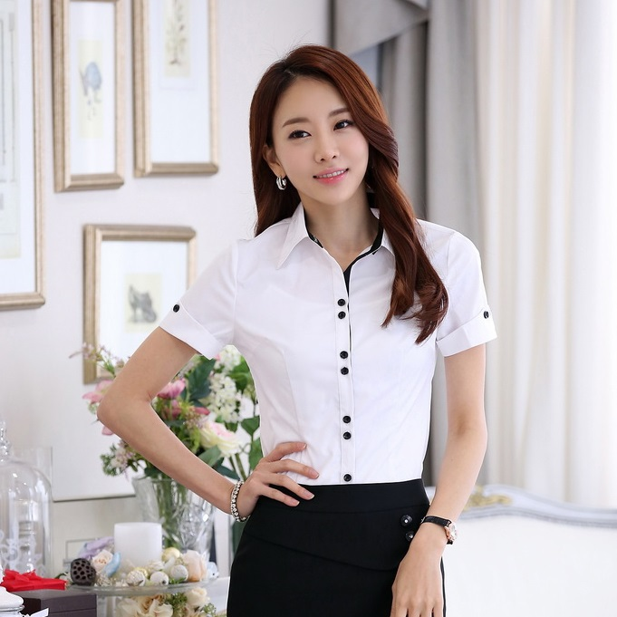 High Quality Formal Women Pink Shirts Summer Tops Short Sleeve ...