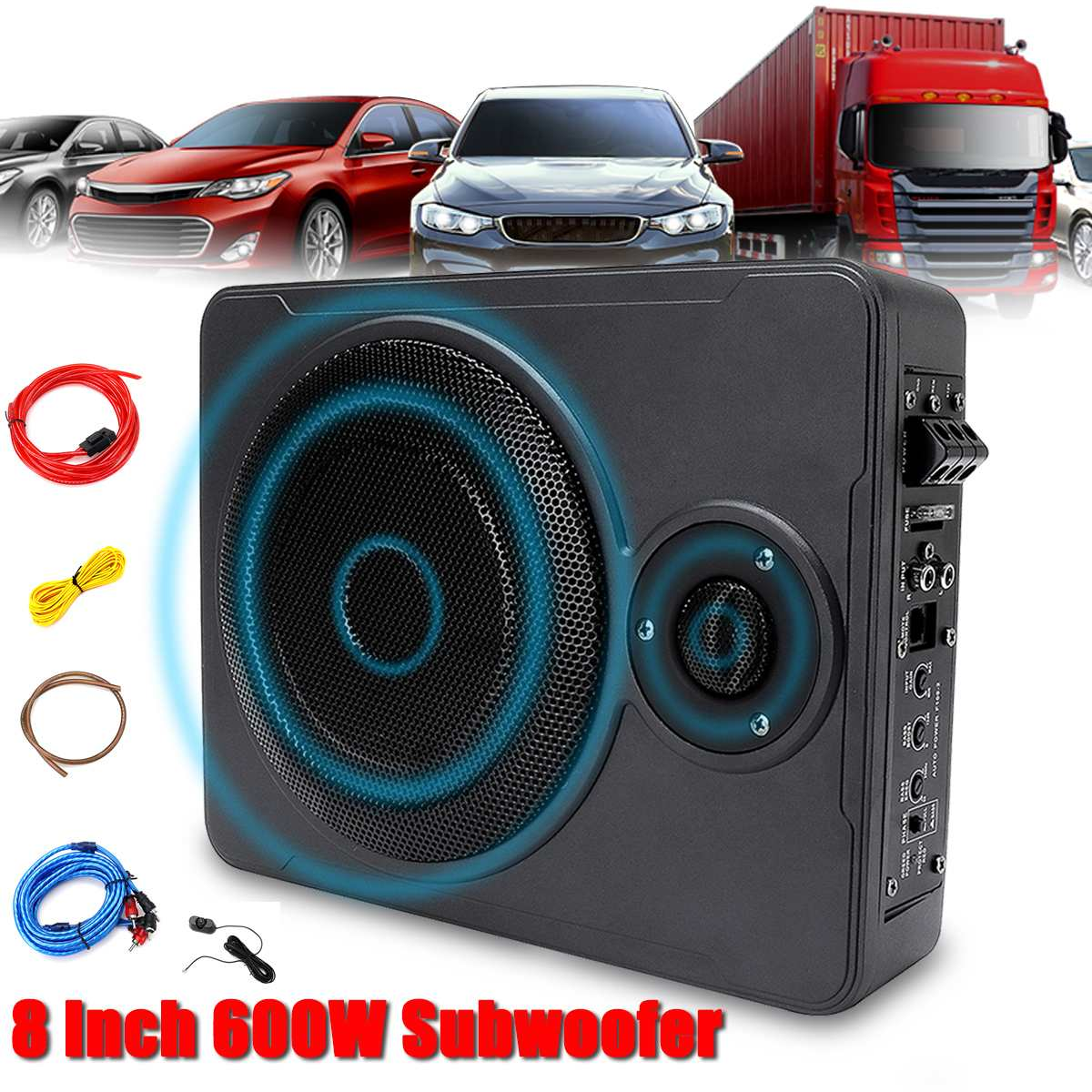 8 Inch 600W Car Home Subwoofer Under Seat SubStereo Subwoofer Car  Audio Speaker Music System Sound Car Subwoofers Speaker