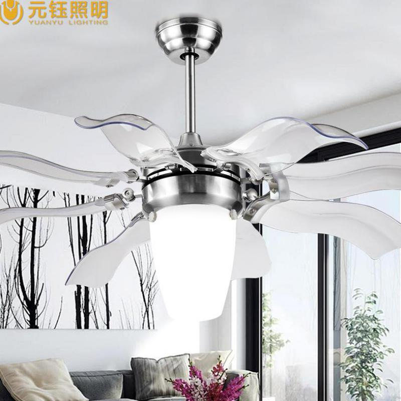 Modern Brief Mute Large 52 Inches Acryl Led Ceiling Fan Lamps For Living Room Bed Ac 80 265v 1051