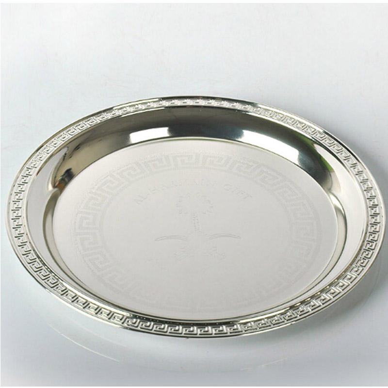 New shiny silver round plate high grade Dishes Plates for wedding or party 10 tray as