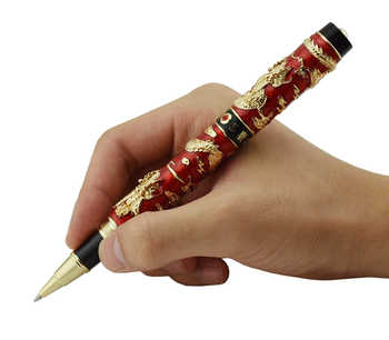 Jinhao Red Cloisonne Double Dragon Rollerball Pen with Smooth Ink Refill Advanced Craft Writing Gift Pen for Business, Graduate