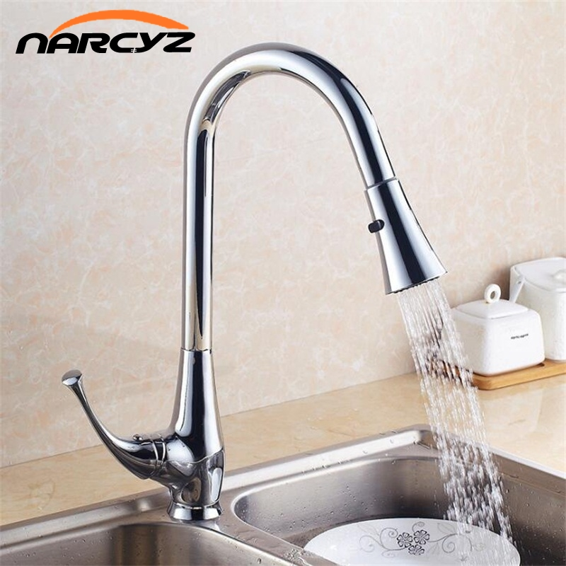 Kitchen Faucet 360 Rotate Swivel Pull Out Spray Brass Chrome Silver Kitchen Sink Faucet Single Lever Vanity Mixer Taps XT-89 new design pull out kitchen faucet chrome 360 degree swivel kitchen sink faucet mixer tap kitchen faucet vanity faucet cozinha
