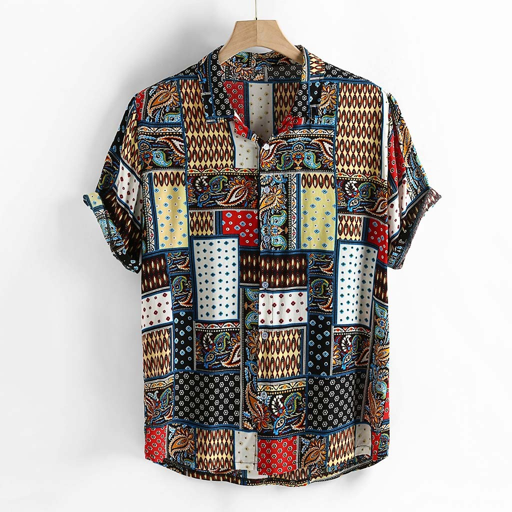 Fashsiualy Mens Vintage Ethnic Style Printing Loose Short Sleeve Stand Collar Casual Shirt Camisa Masculina