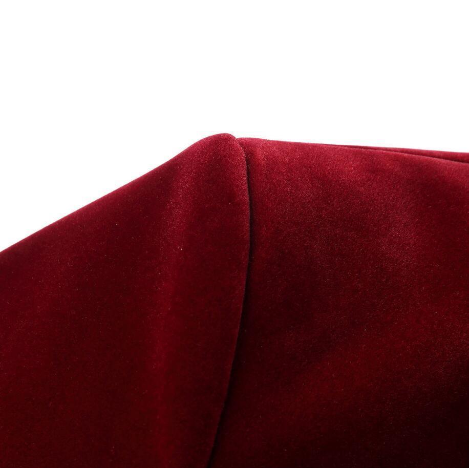 PYJTRL Hommes Automne Hiver Velours Vin Rouge De Mode de Loisirs Veste de Costume De Mariage Marié Chanteur Slim Fit Blazer Hombre Masculino - 5