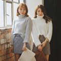 2017 Female Loose Cashmere Knit Sweater Big Sleeves Turtleneck Crop Top Pullover Women Winter Thicken Warm Knitwear Wool Sweater