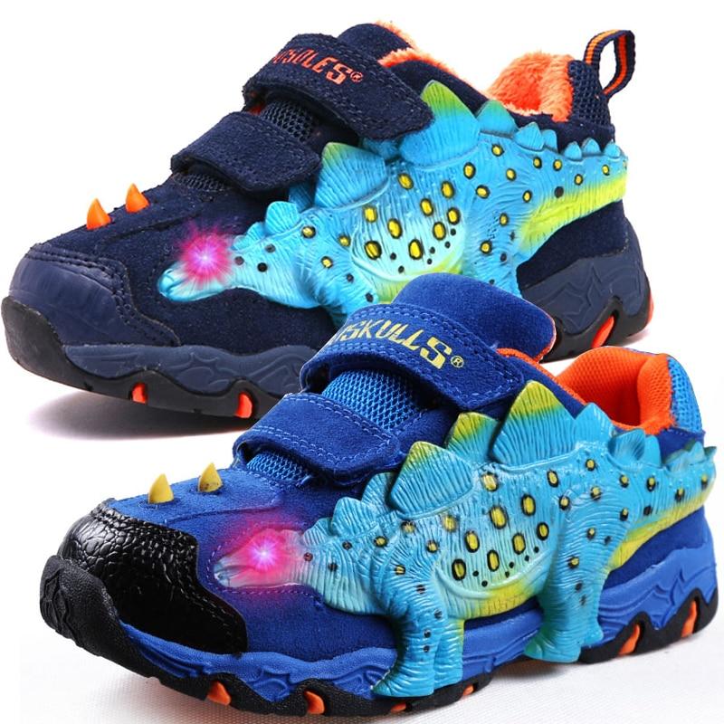 Dinoskulls детская обувь 3D Динозавр светильник кроссовки для мальчиков 2020 LED вельветовые Детские кроссовки светящиеся теннисные туфли для больш...