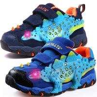 Dinoskulls Kids Shoes 3D Dinosaur Light Up Boys Sneakers 2019 LED Velvet Children's Trainers Glowing Tennis big Boy Shoes