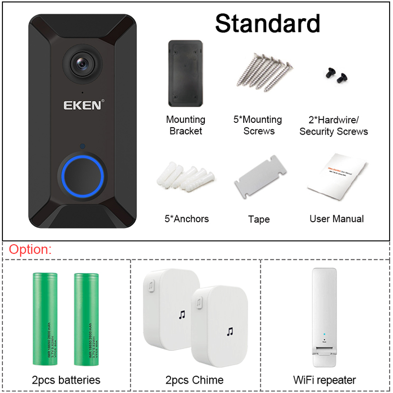 USA Smart WiFi Wireless Doorbell Video Intercom Camera Record Home Security Bell