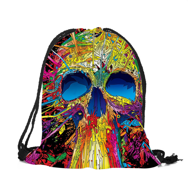 Punk Women Drawstring Bags Backpack Halloween Skull Print Newest Vintage College Students School Bagpack Girls Feminina Sack